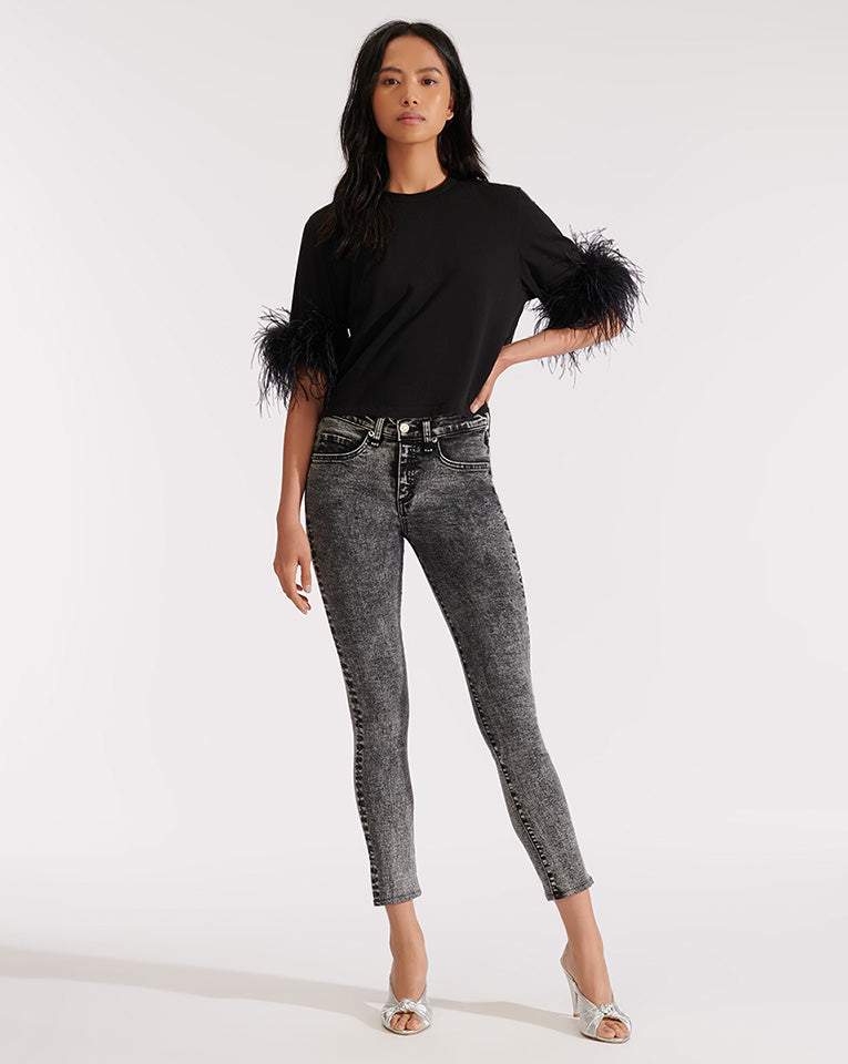 Wanda Feather Tee - Black