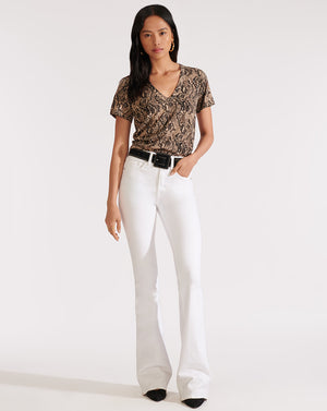 Beverly High Rise Skinny Flare - White