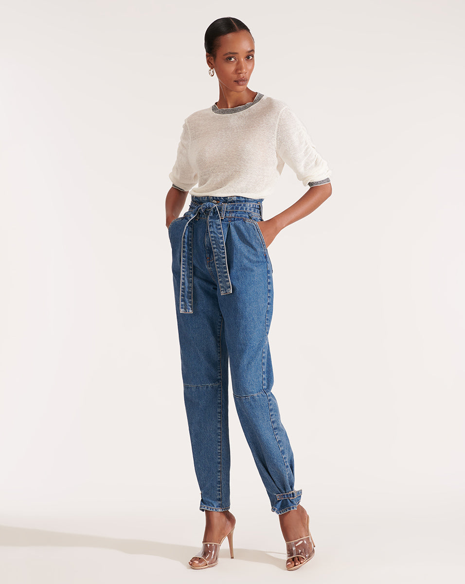 Addie Paper-Bag-Waist Tapered Jean