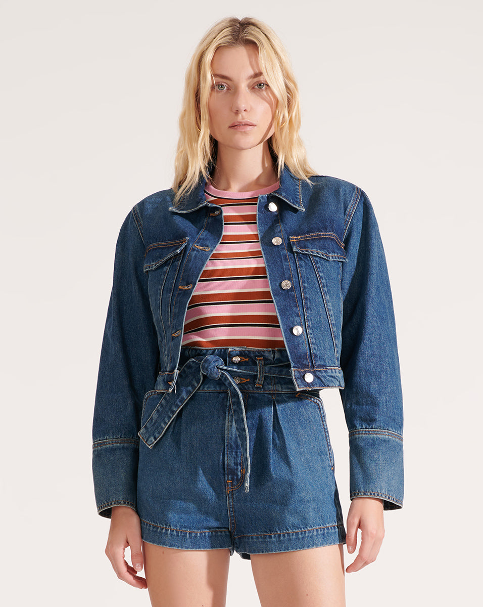 Denim Pouf Sleeve Jacket - Bright Blue