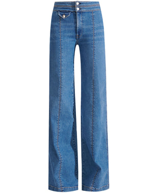 Ember Seamed Wide-Leg Jeans - Powdered Ocean