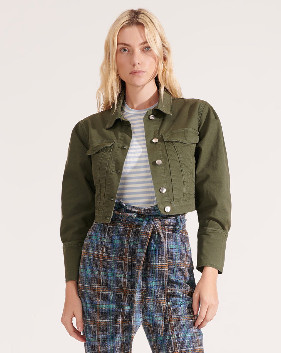 Denim Pouf Sleeve Jacket - Army Green