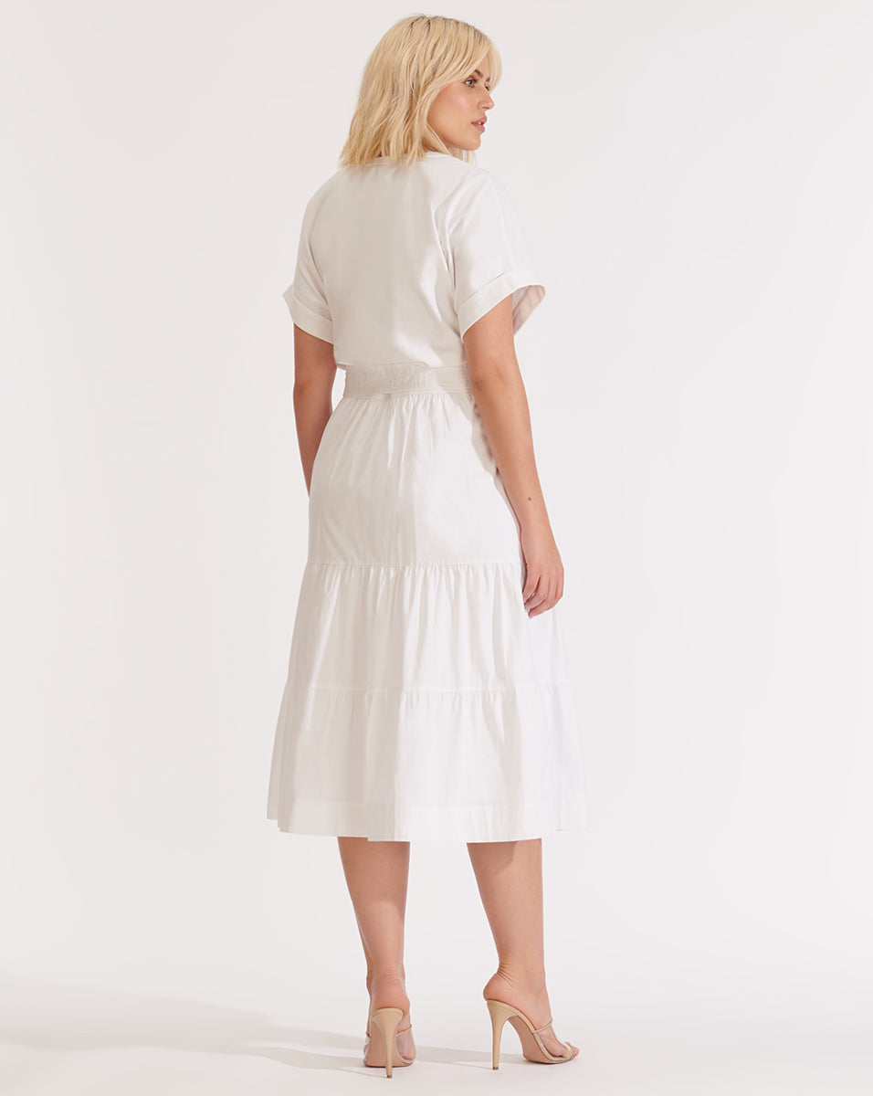 Trail Tiered Dress - White