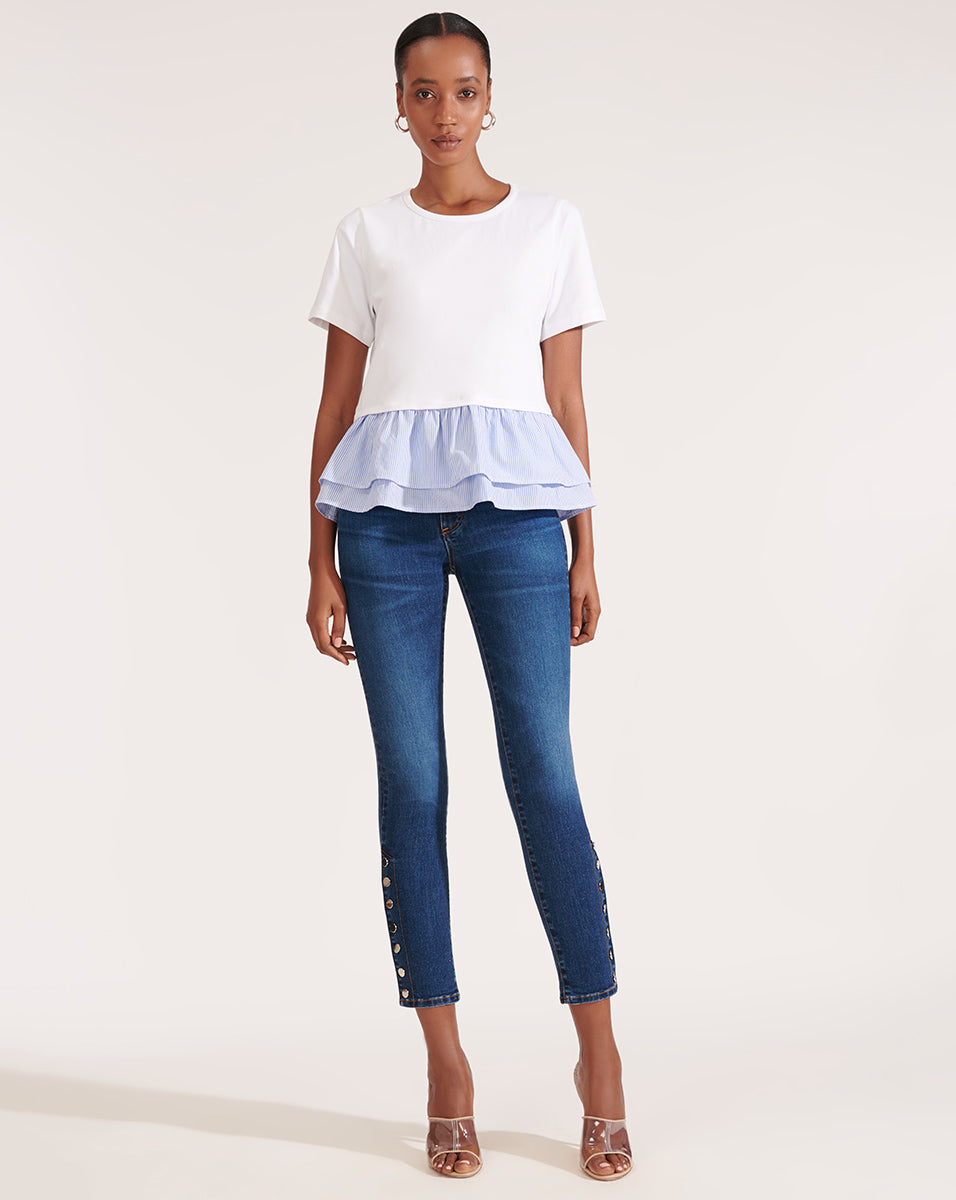 Kate High-Rise Skinny Jean With Snaps - Bright Blue