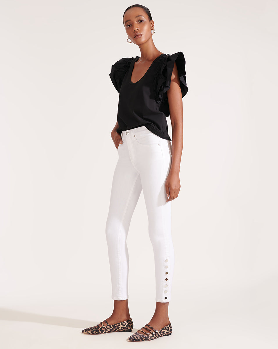 Kate High Rise Skinny W/ Snaps - White