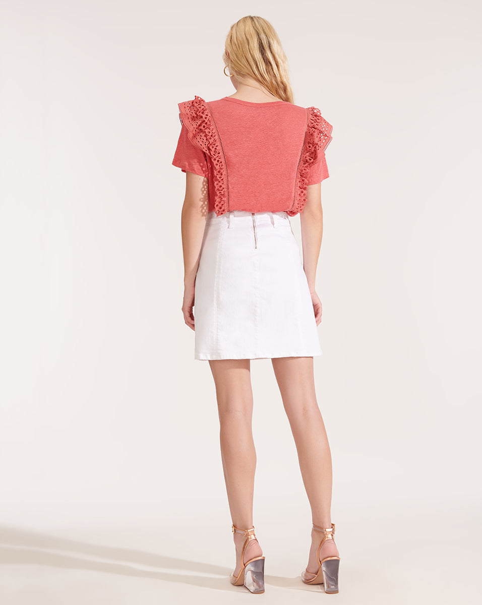 Deena Patch Pocket Skirt - White