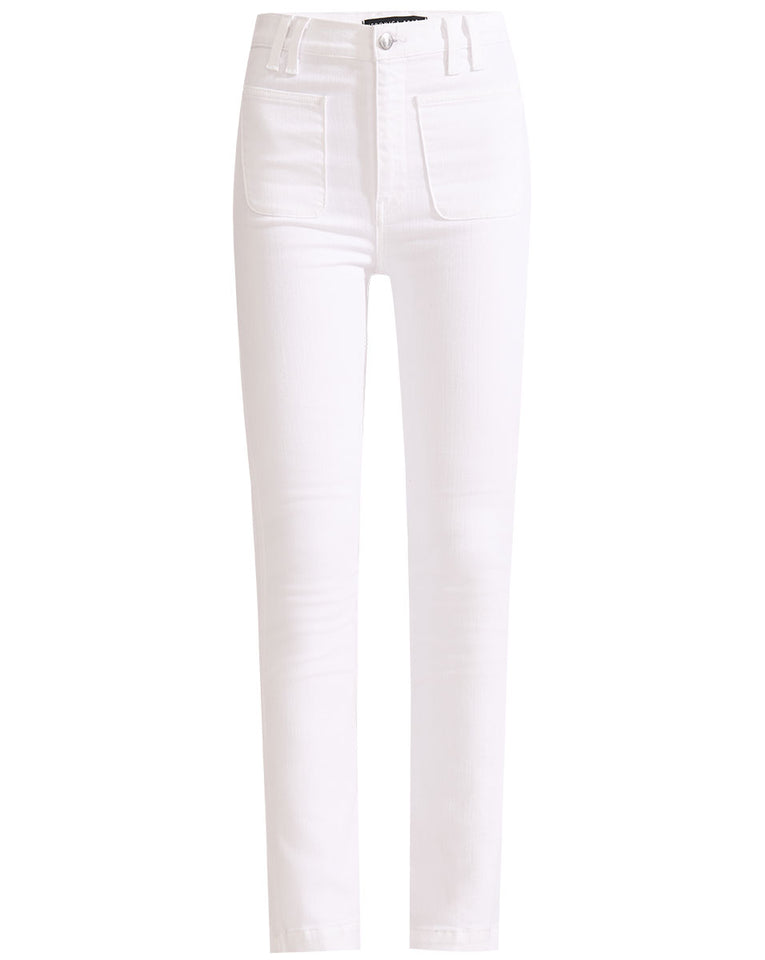 Carly High Rise Kick Flare W/ - White