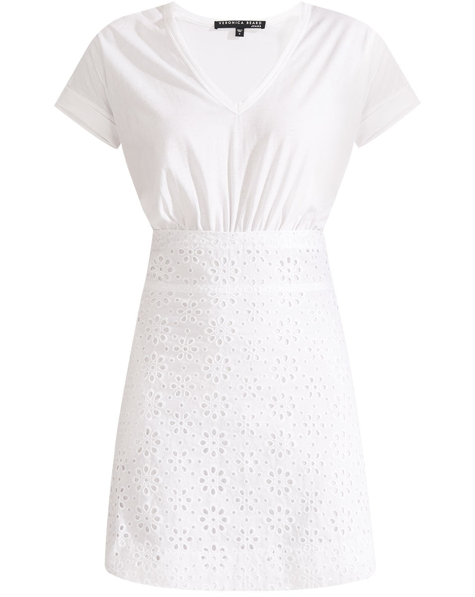 Jiya Combo Dress - White