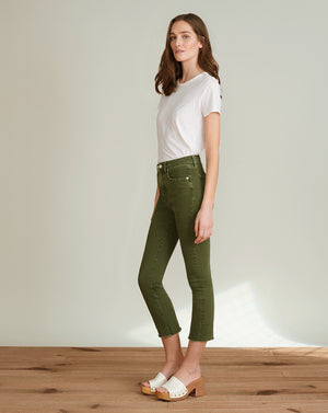 Carly High-Rise Kick Flare Jean - Olive Stone