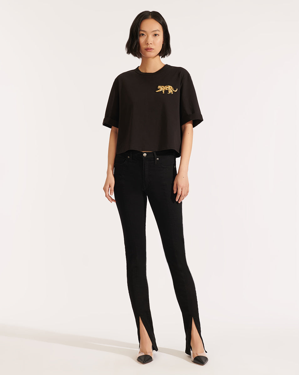 Abby Tee With Sequin Patch - Black