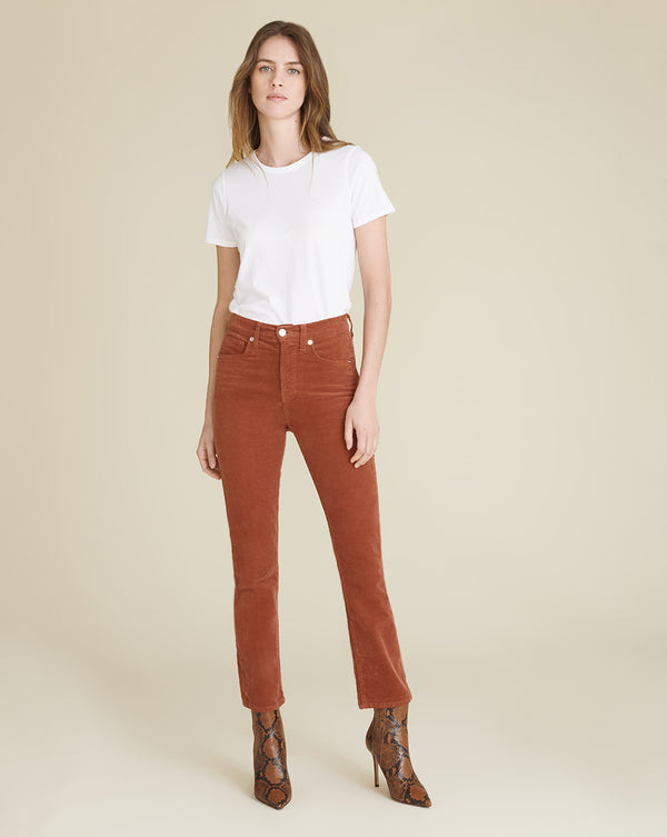 Carly High-Rise Kick Skinny-Flare Corduroy Jean - Clay