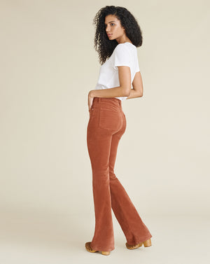 Beverly High-Rise Skinny-Flare Corduroy Jean - Clay