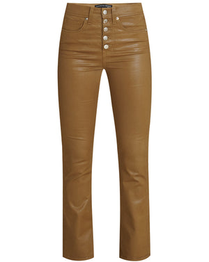 Carolyn Kick-Flare Coated Jean - Ochre