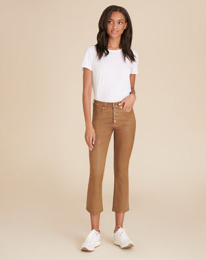 Carolyn High-Rise Kick-Flare Coated Jean - Ochre