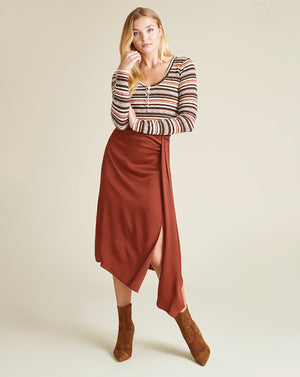 Molli Striped Henley Top - Chocolate Multi
