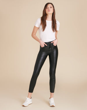 Debbie High-Rise Skinny Vegan Leather Jean - Black