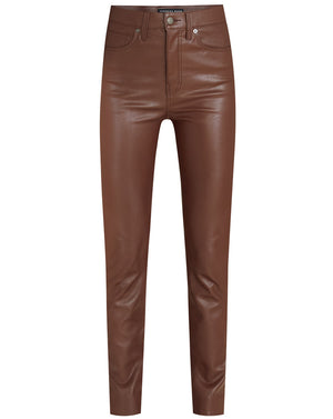 Debbie Vegan Leather Skinny Jean - Brown