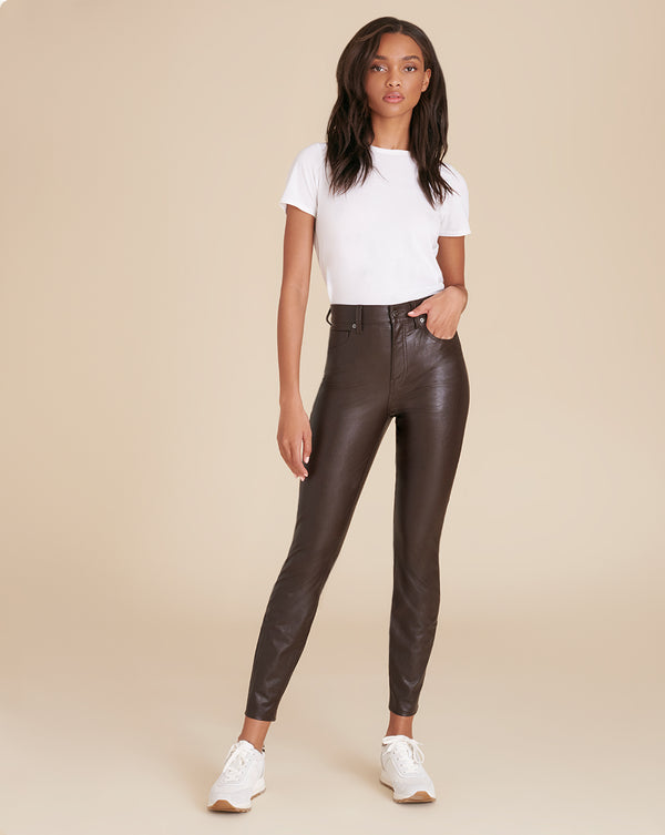 Debbie High-Rise Skinny Vegan Leather Jean - Brown