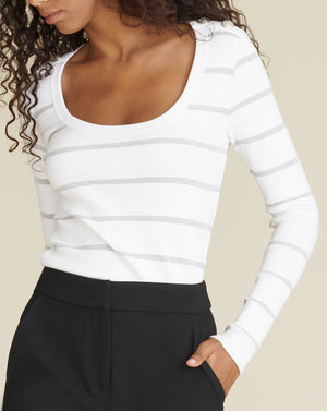 Lizzie Striped Knit Top - White