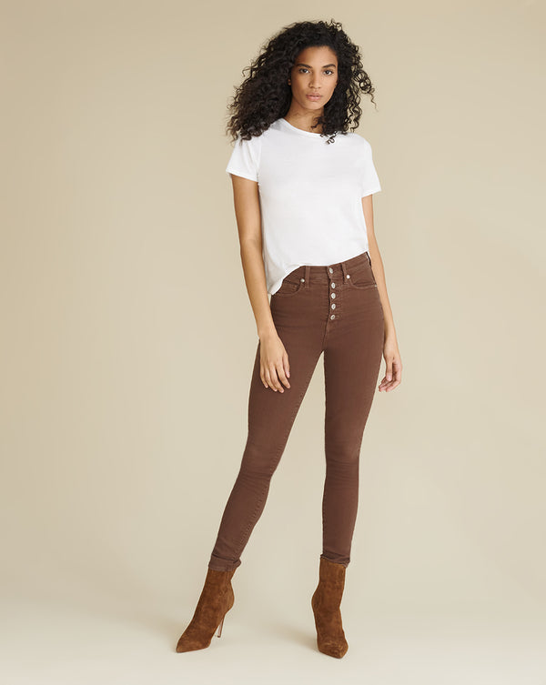 Maera Extra High Rise Skinny - Brown Stone