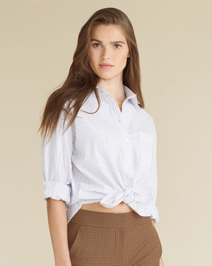 Keiko Button Down - White Blue