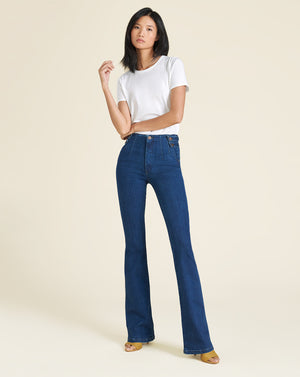 Beverly High-Rise Skinny Flare Jean (w/ No Waistband) - Washed Oxford