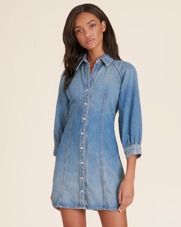 Estee Raglan Denim Dress - Waterfall