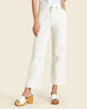 Blake Notch-Waist Straight-Leg Jean - Ecru