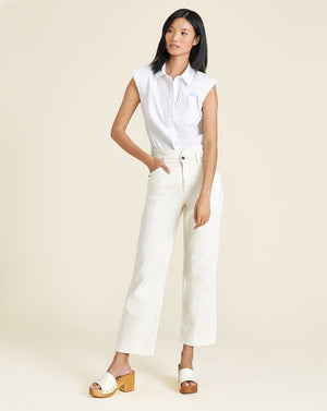Kat Padded Shoulder Top - White