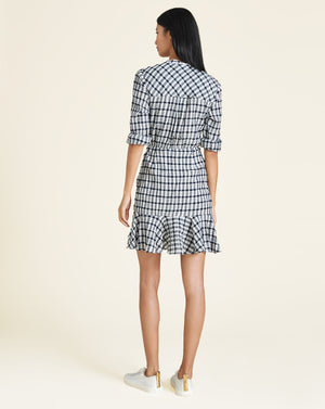 Sherry Crinkled Plaid Minidress - Off White/Navy