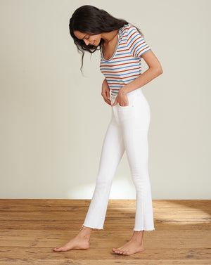 Carly High-Rise Kick-Flare Jean - White