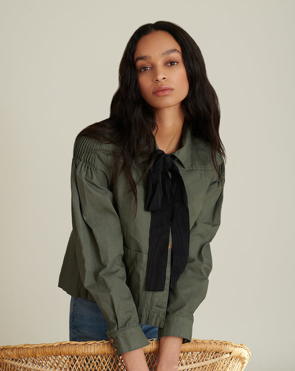 Weslyn Bow-Accent Jacket - Army Green
