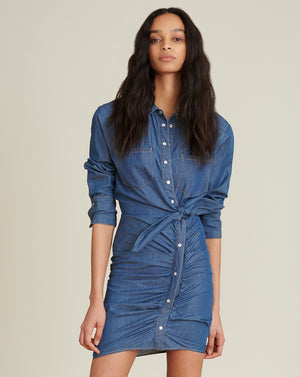 Sierra Ruched Chambray Dress - Bright Blue