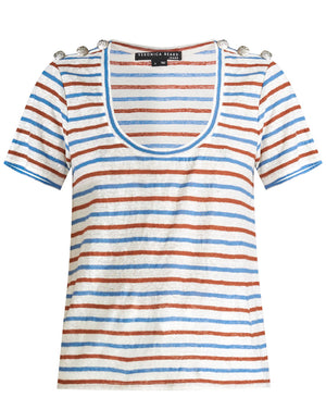 Benji Striped Tee - Rust/Blue
