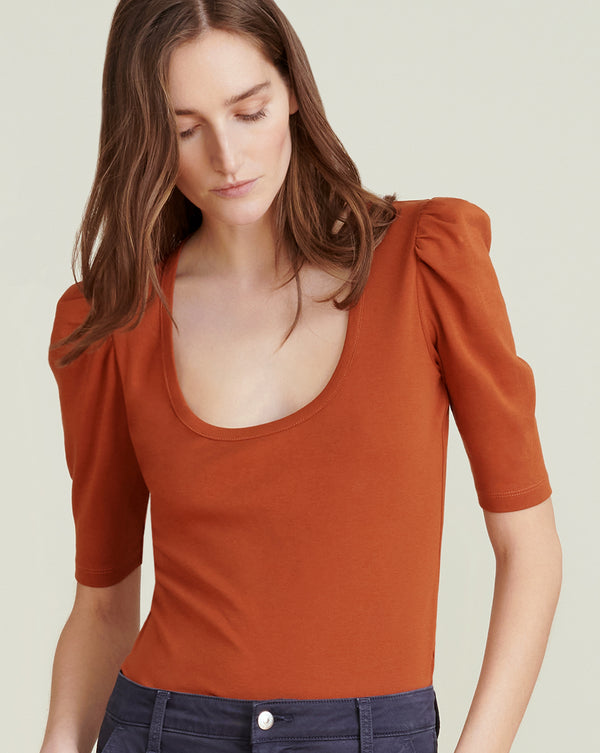 Pandora Puff-Sleeve Top - Rust