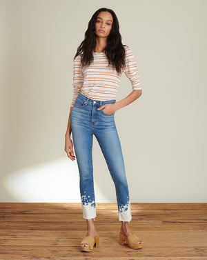 Carly High-Rise Kick Flare Jean (with Beach Splat Detail) - Lava Stone