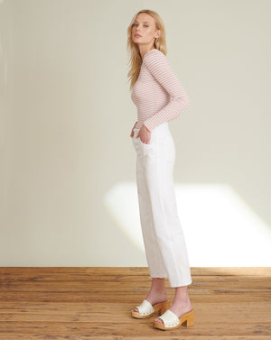 Crosbie Cropped Wide-Leg Jean - White