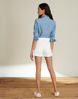 Jaylen Notch-Waist Short - White