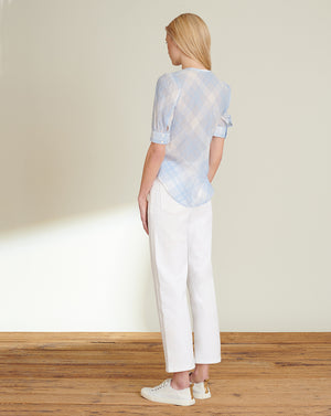 Linn Gingham Top - Sky/white