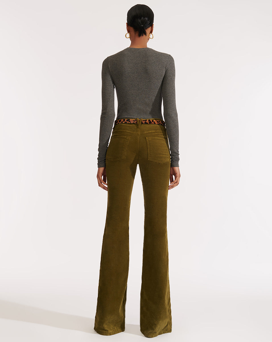 Beverly High Rise Skinny Flare - Moss