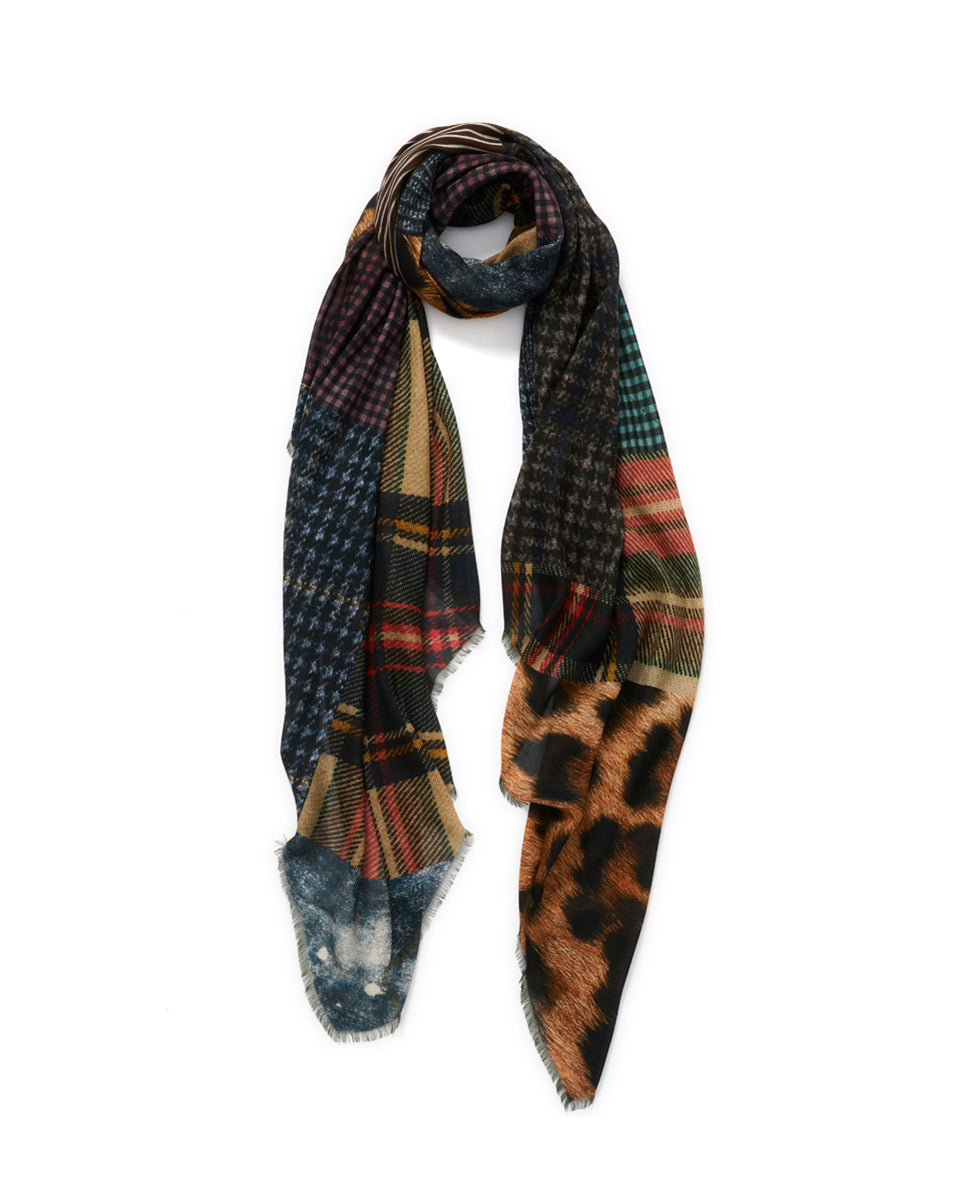 The Patch Wrap Scarf - Brown Multi