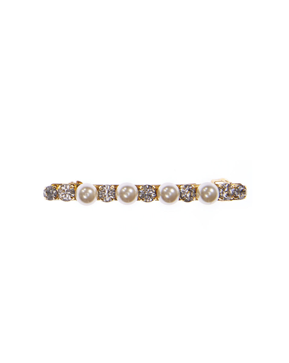 Crystal And Pearl Barrette - Gold Multi