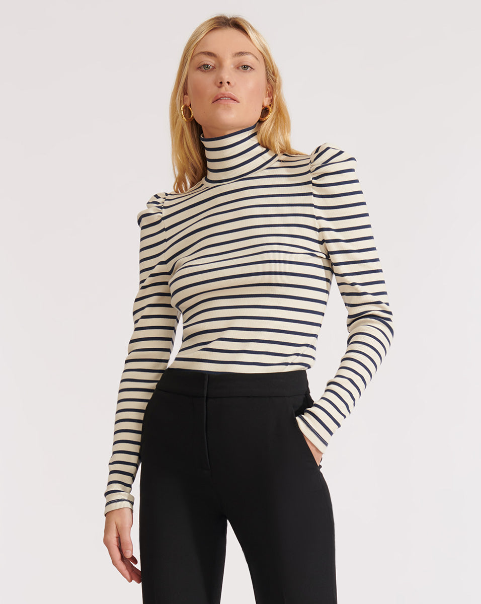 Cedar Turtleneck - Navy/ivory