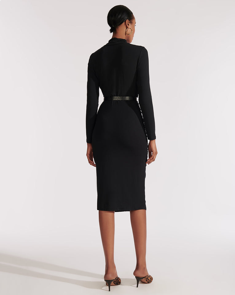Elm Turtleneck Midi Dress - Black