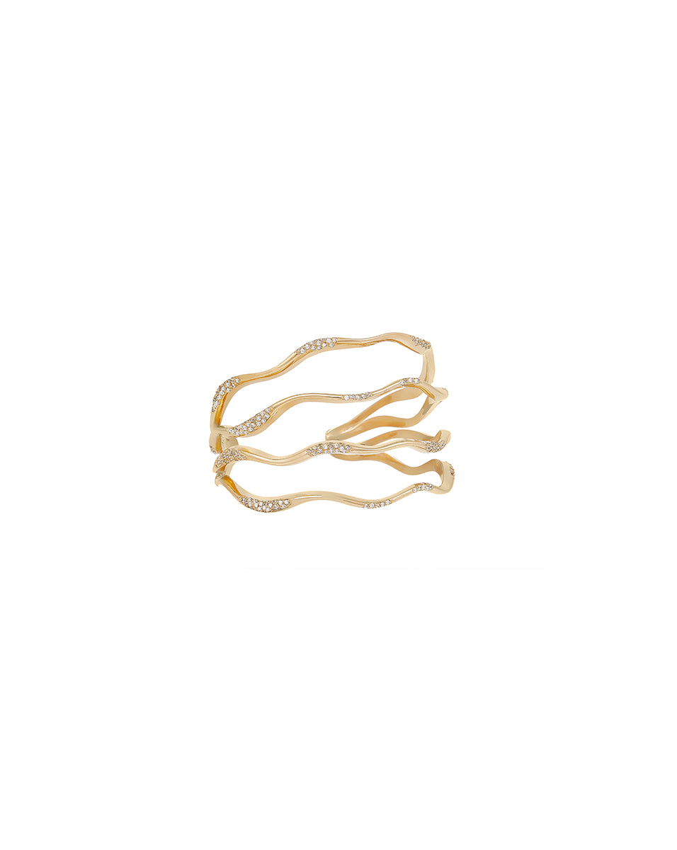 Gold Waves Statement Pave Cuff - Gold