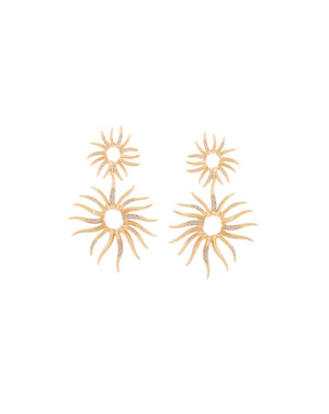 Statement Sun Pave Earrings - Gold