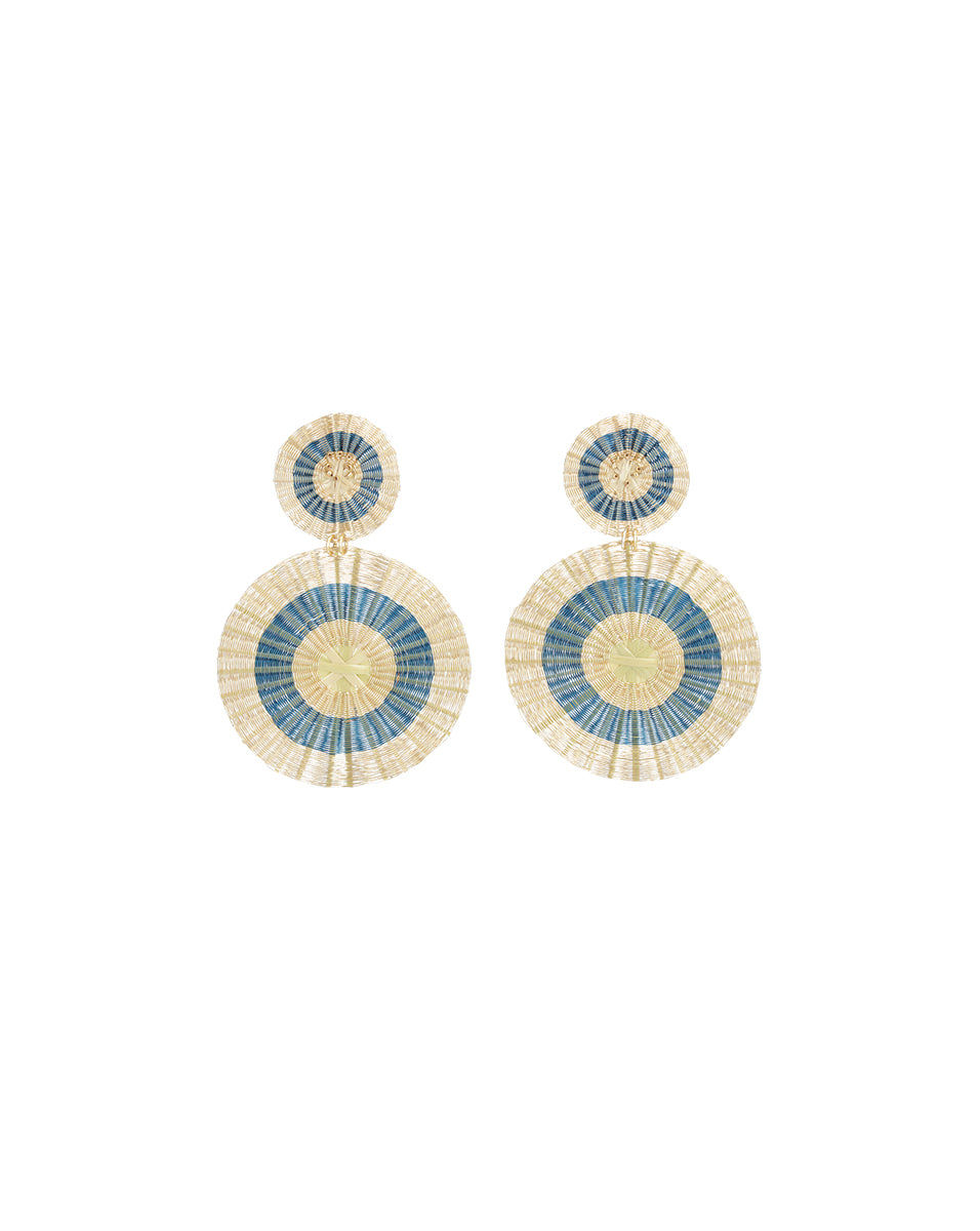 Blue & Gold Sun Earrings - Blue Multi