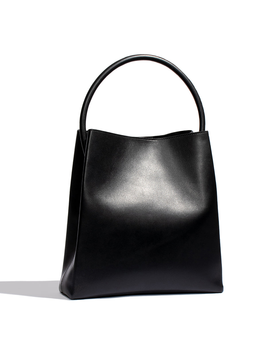 Arch Handle Pleat Tote - Black