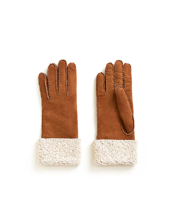 Merino Donna Long Shearling Gloves - Chestnut