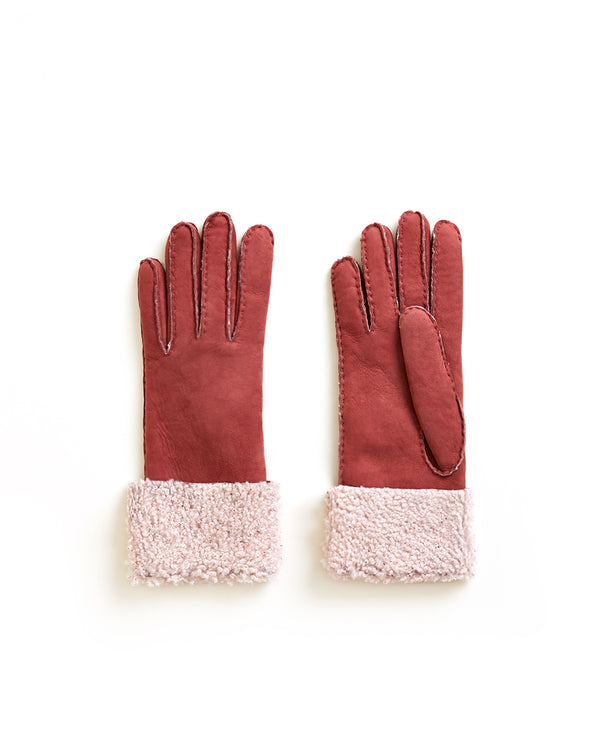 Merino Donna Long Shearling Gloves - Pink